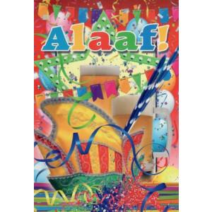 feestelijke wenskaart voor carnaval alaaf met bier en slingers