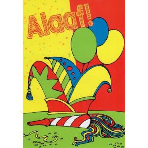 alaaf wenskaart met prins carnaval hoed en ballonnen