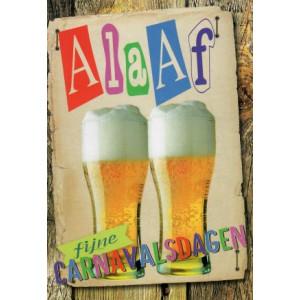 wenskaart fijne carnavalsdag met slingers en bier