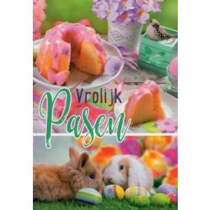 Wenskaart vrolijk pasen met twee konijntjes en een paascake