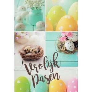 Wenskaart vrolijk Pasen met allerlei gekleurde eieren
