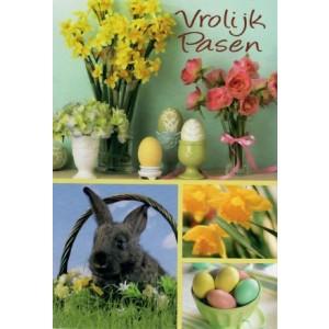 Wenskaart vrolijk Pasen met paastakken, gekleurde eieren en konijntje
