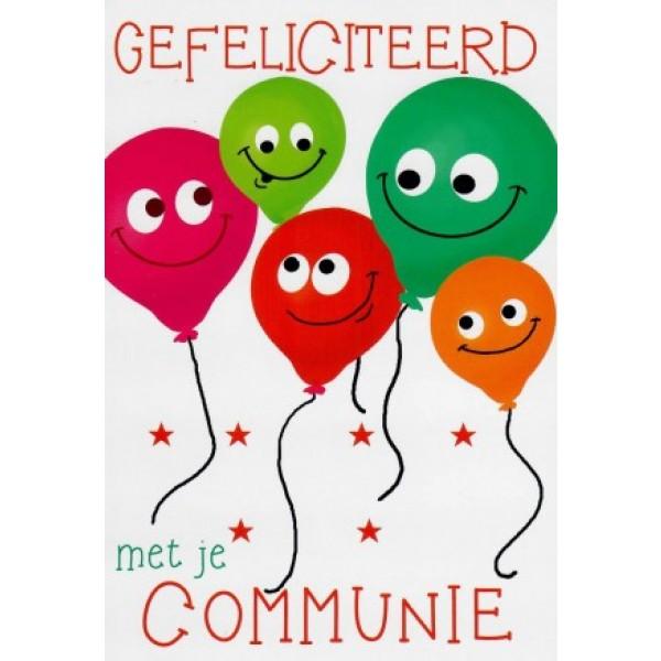Wenskaart gefeliciteerd met je communie met vrolijke ballonnen