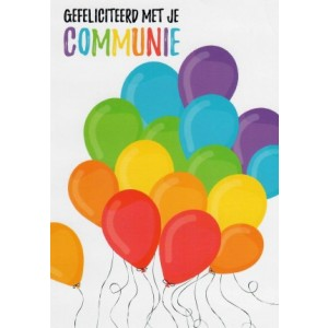 Wenskaart gefeliciteerd met je communie met kleurige ballonnen