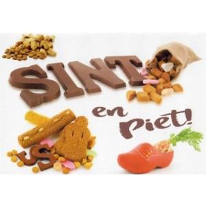 Wenskaart Sint en Piet met snoepgoed en een klomp met een wortel erin