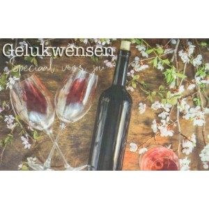 wenskaarten gelukswensen met een fles wijn