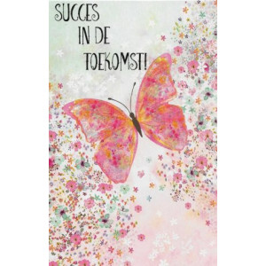 sierlijke wenskaart met roze flinder en bloemetjes succes