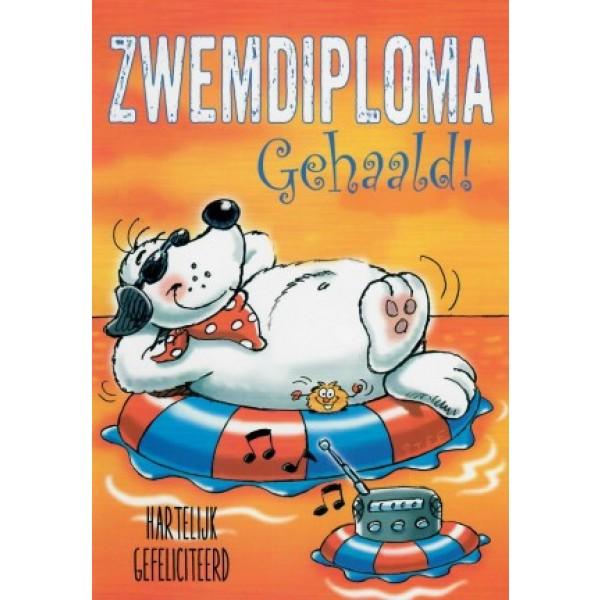 Wenskaart zwemdiploma gehaald met een hond op een zwemband