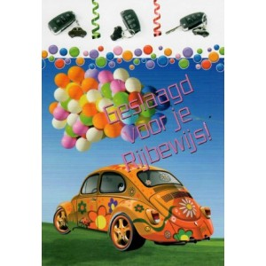 wenskaart geslaagd voor je rijbewijs met een Volkswagen Kever en ballonnen