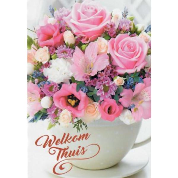 mooie wenskaart met vaas met roze bloemen welkom thuis