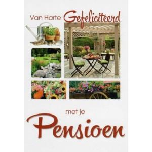 Wenskaart gefeliciteerd met je pensioen met afbeeldingen van tuin en tuinierders spullen