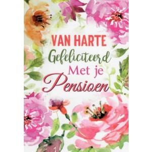 Wenskaart gefeliciteerd met je pensioen met een aquarel van roze bloemen