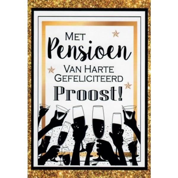 Wenskaart pensioen, van harte gefeliciteerd, proost met handen die het glas heffen
