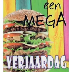 Wenskaart little square een mega verjaardag met een enorm broodje hamburger
