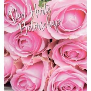 wenskaart van harte beterschap met roze rozen