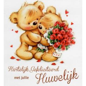 wenskaart liefde gefeliciteerd met jullie huwelijk twee knuffelende beertjes