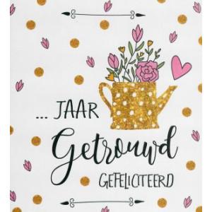 wenskaarten zoveel jaar getrouwd met gieter en bloemen