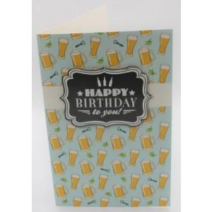 """Adios wenskaart felicitatie met de tekst """"happy birthday to you"""" met afbeeldingen van een heleboel biertjes"""