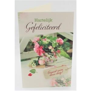 Adios wenskaart felicitatie roze bloemen