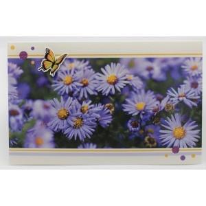 Adios wenskaart zonder tekst met paarse bloemen en een vlinder