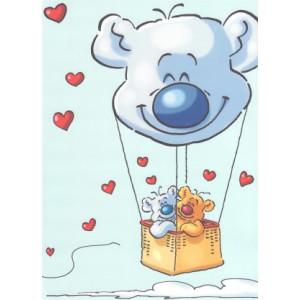 liefde wenskaart twee beren in een luchtballon