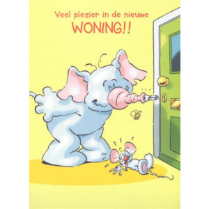 wenskaart veel plezier in de nieuwe woning olifant en muis met sleutel