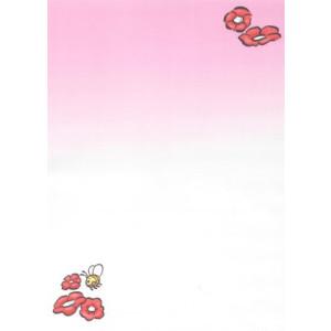 wenskaart roze met bloemen en bij