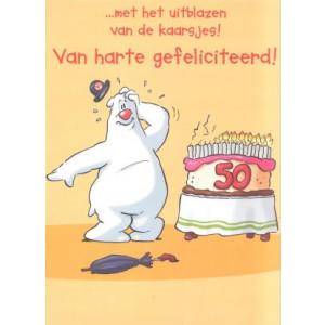 wenskaart van harte gefeliciteerd ijsbeer met taart met kaarsjes