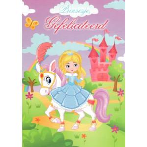 prinsesje gefeliciteerd wenskaart met prinses en paardje