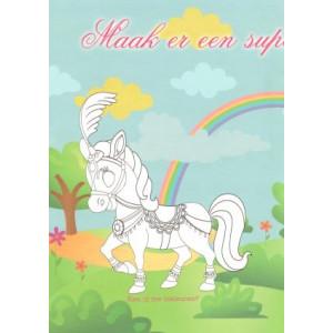 princessen wenskaart met regenboog en paard