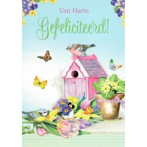 wenskaarten van harte gefeliciteerd met vogeltjes, vogelhuisje en bloemen