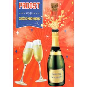 wenskaart proost op je gezondheid met champagne en glazen