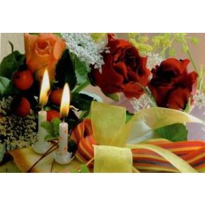 goedkope wenskaarten bestellen met bloemen en kaarsjes