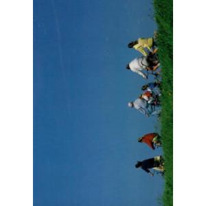 kaartje met een foto van mensen op de fiets tegen een blauwe lucht