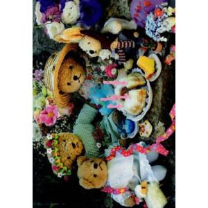 kaartje met beertjes en knuffels met een verjaardagstaart