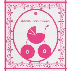 wenskaart hoera een meisje roze met kinderwagen