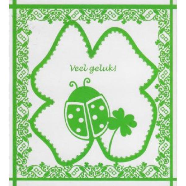 wenskaart veel geluk in de kleur groen