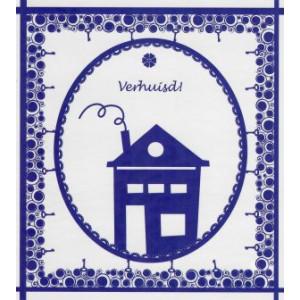 wenskaart verhuisd in de kleur blauw