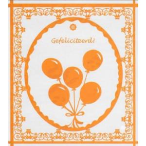wenskaart gefeliciteerd in de kleur oranje