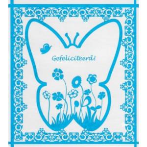 wenksaart gefeliciteerd in de kleur lichtblauw