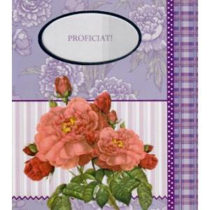 traditionele wenskaart proficiat paars met rose bloemen