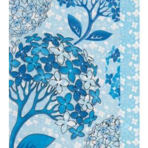 blauwe wenskaart met decoratieve bomen
