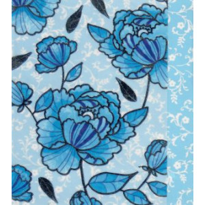 blauwe wenskaart met getekende bloemen
