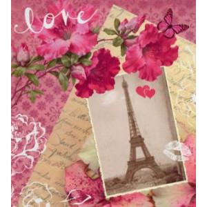 liefdevolle wenskaart roze met eiffeltoren in parijs