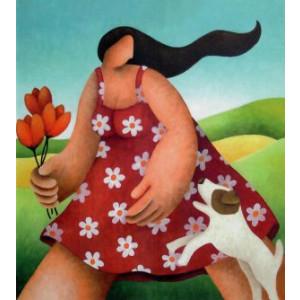 kunstige wenskaart vrouw met hong