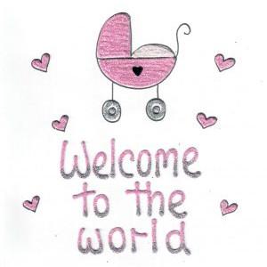 wenskaart welcom to the wirl roze kinderwagen