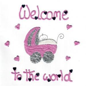 wenskaart welcome to the world kinderwagen met baby