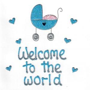 wenskaart welcome to the world blauw met hartjes