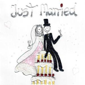wenskaart trouwdag just married