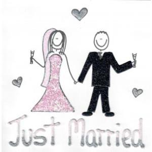 wenskaart just married man en vrouw met hartjes